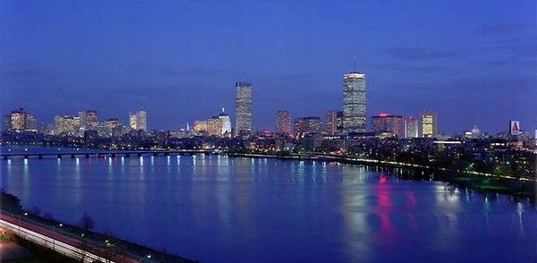 The Boston skyline at night, seen from the Hyatt Regency Cambridge