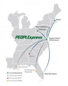 For now, the Virginia-based PEOPLExpress will focus on routes in the Northeast and Southeast
