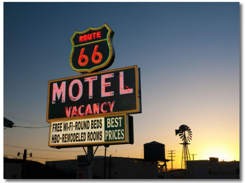 Spending a few nights on the road? Use a credit card with a category bonus. Photo courtesy of Route 66 Motel Barstow.