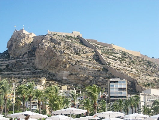 A view of the mountain Benacantil and Santa Barbara castle in Alicante