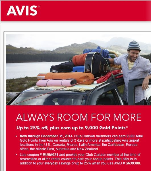 Get 9,000 Club Carlson points for Avis rentals