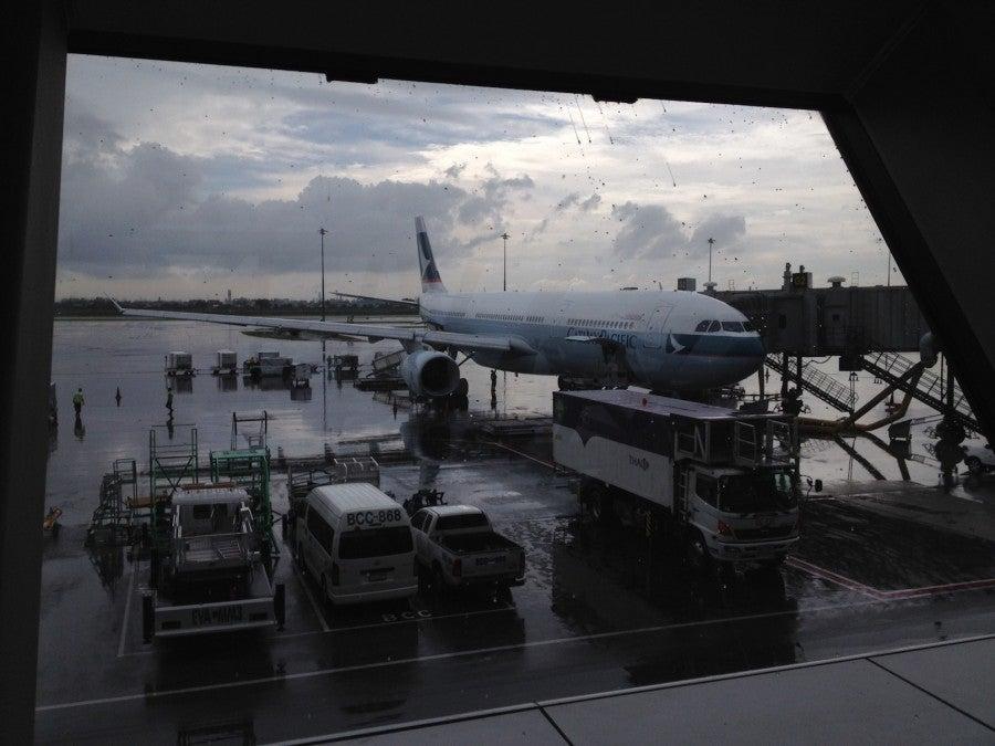 Waiting to board the Cathay A330 to Hong Kong.