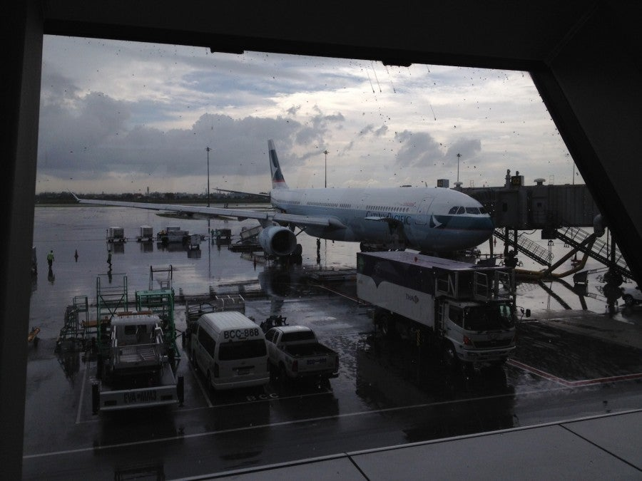 Waiting to board the Cathay A330 to Hong Kong.