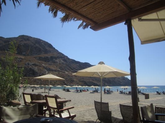 A view of Plakias from one of their quaint beach bars