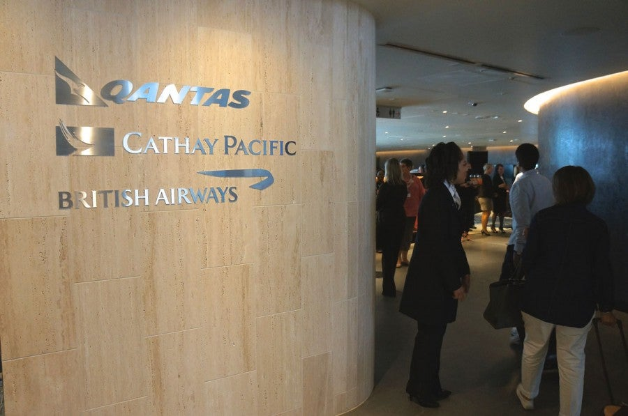 The entrance to the newly opened oneworld Business Lounge at LAX