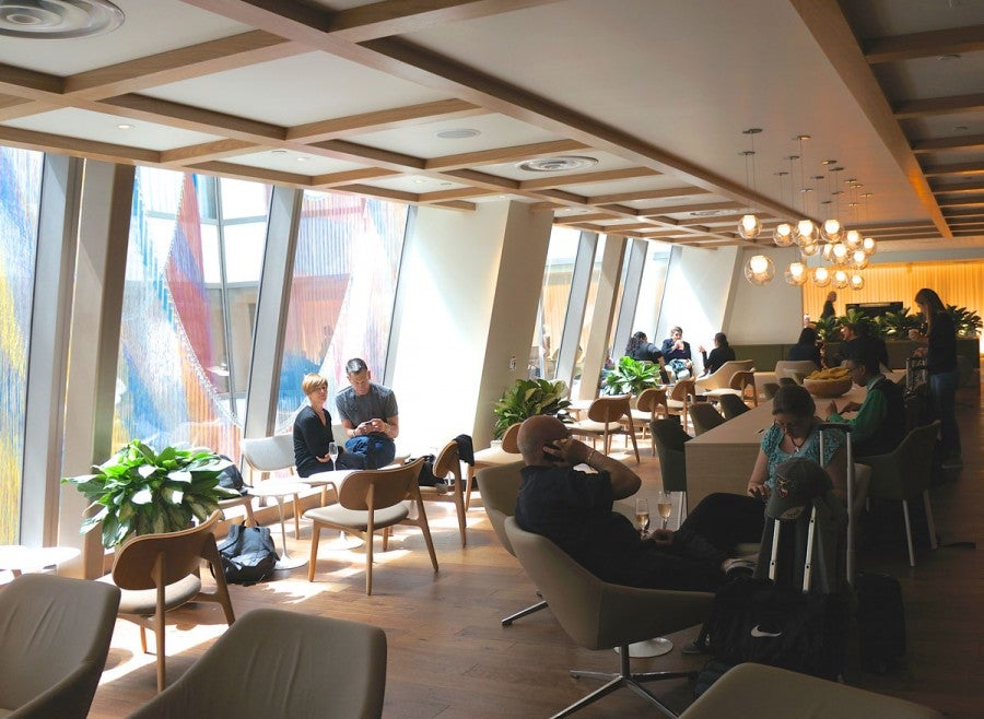 Built around a large atrium, the lounge features a range of low- and well-lit areas