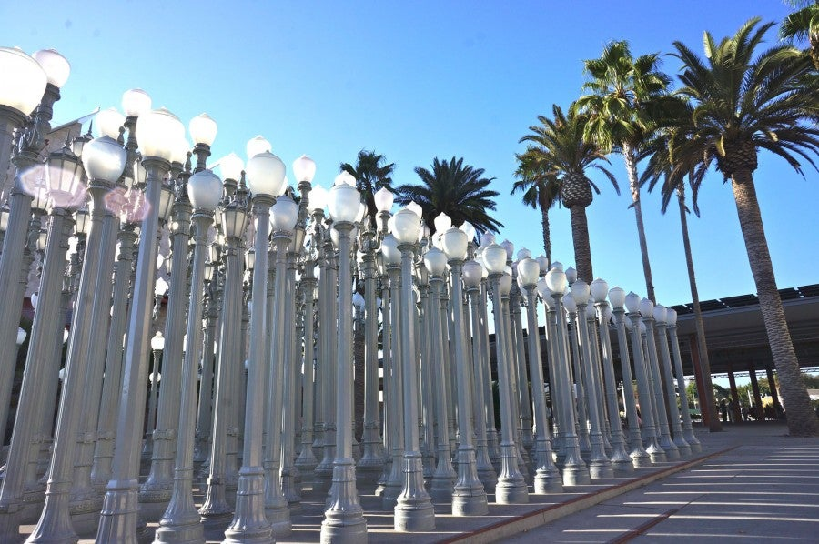 """Chris Burden's """"Urban Light,"""" a collection of L.A.'s salvaged street lamps set outside the Los Angeles County Museum of Art"""