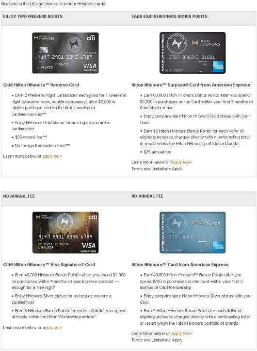 Hilton offers four different credit cards from two different banks.
