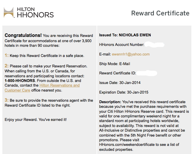 Free night certificates like this are e-mailed to cardholders.