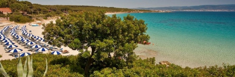 A view of Le Bombarde Beach on the island of Sardinia, Italy