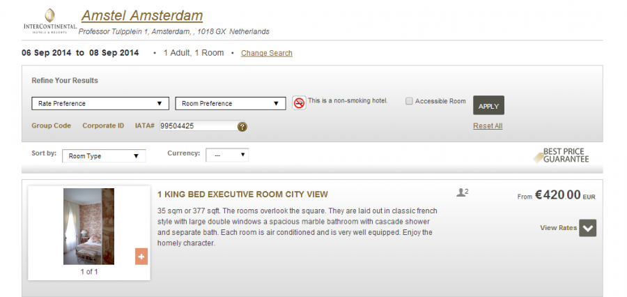 IHG Intercontinental Amstel Amsterdam room rate