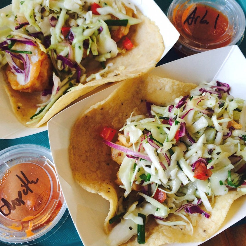 Shrimp and scallop tacos from Tacos Puntas Cabras in Santa Monica