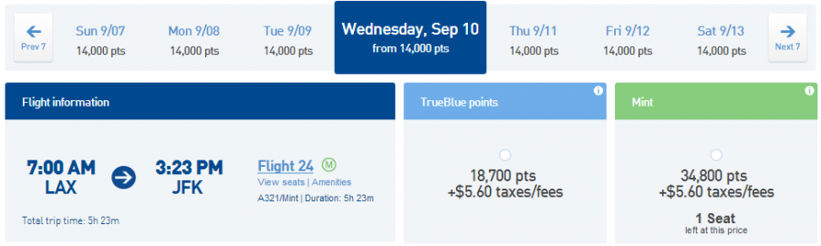 JetBlue mint discount fare