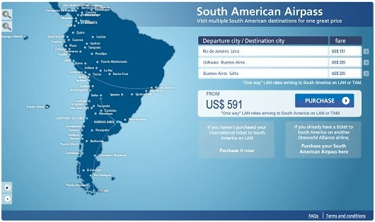 LAN's web site allows you to construct, price, and purchase South America pass itineraries if you are traveling there on LAN or TAM.