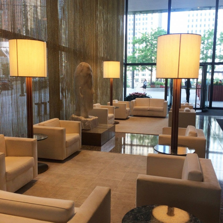 The Langham Chicago's lobby, on the building's 39th floor