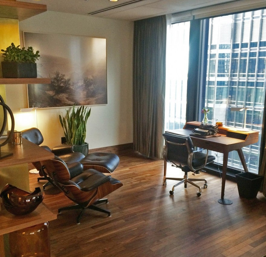 Just another cozy corner with a view (and a typewriter) at The Langham Chicago's Club Lounge