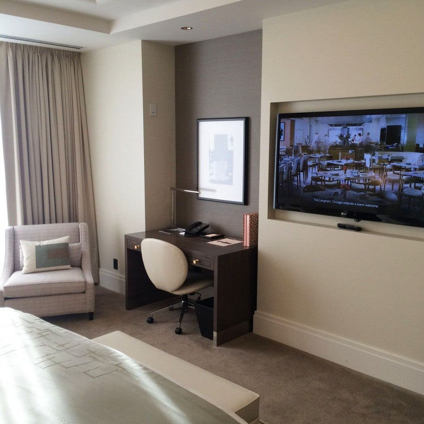 """The 55"""" LCD-HD TV and writing desk in my Club Grand Room"""