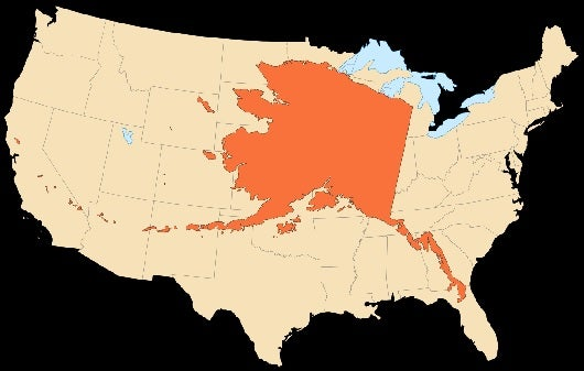 The size of Alaska compared to the rest of the continental United States.