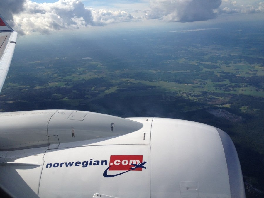 On our descent into Stockholm.