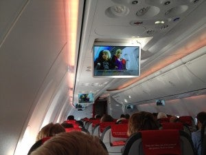 Just overhead screens for entertainment.