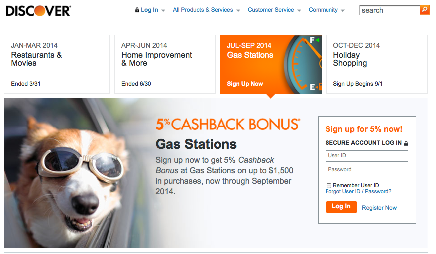 The Discover It Card is currently offering 5% cash back on gas.