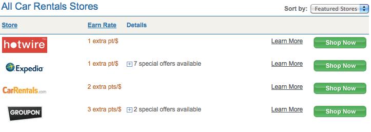 Current car rental bonuses on the Ultimate Rewards portal.
