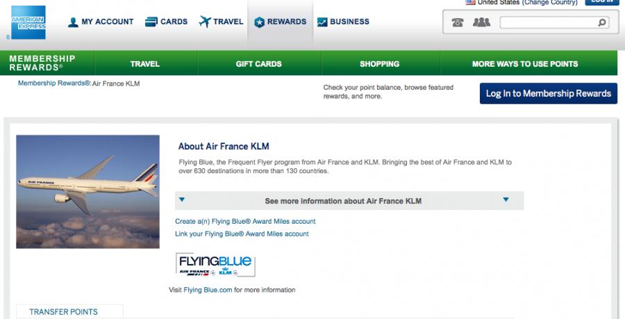 Flying Blue is a 1:1 transfer partner of Amex Membership Rewards.