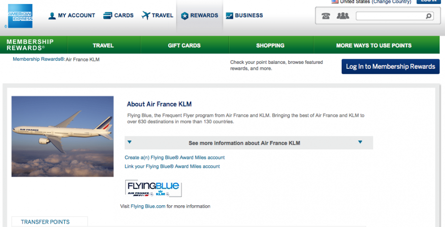 Flying Blue is a 1:1 transfer partner of Amex Membership Rewards.