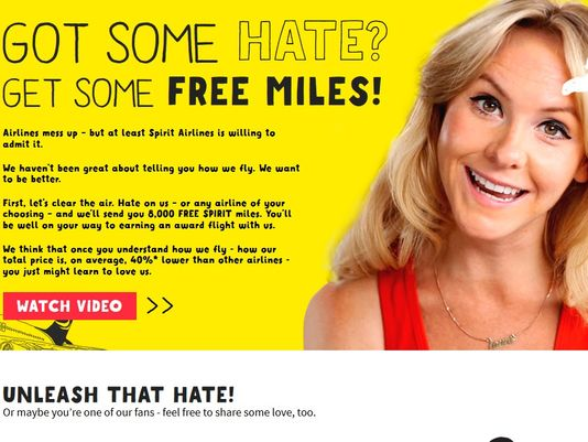 Want to hate on Spirit Airlines? Get 8,000 free miles for doing so