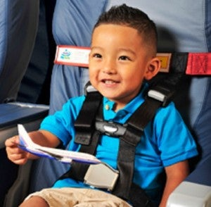 The CARES child restraint system is much easier to use on an airplane than a car's safety seat.