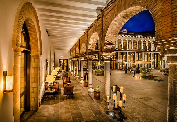 The 16th-century courtyard at the JW Marriott Hotel Cusco in Cusco, Peru