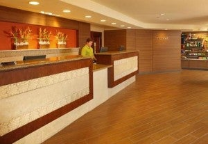 Front desk, where the action is.