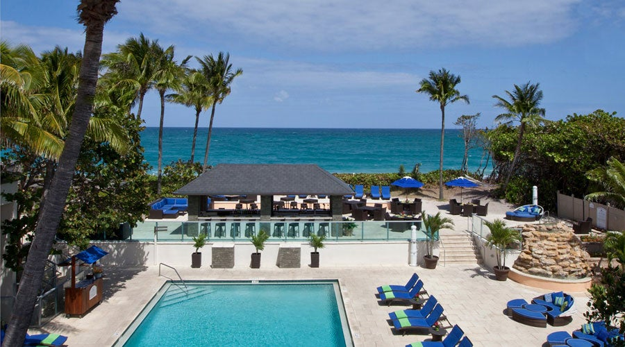 The heated, oceanside pool at the Jupiter Beach Resort & Spa in Florida's Palm Beach County