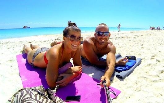 Liz and Ryan enjoying the beach at Playa del Carmen