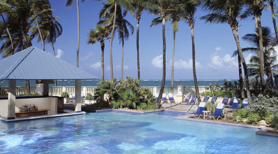 One of two swimming pools at the San Juan Marriott
