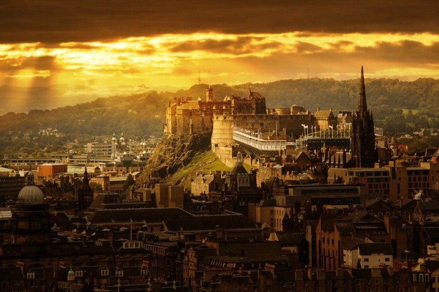 A view of the Edinburgh Castle at night. Image courtesy of Shutterstock