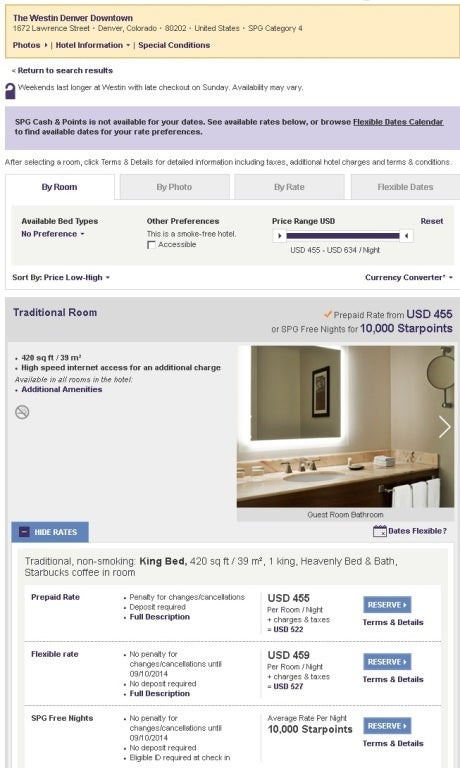 A room at the Westin in downtown Denver can sell for $552 per night with taxes and fees, or just 10,000 points.
