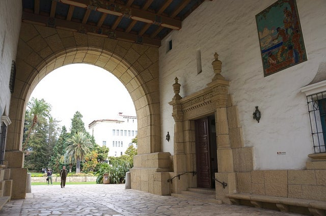 Entrance to the Santa Barbara Courthouse, a landmark built in