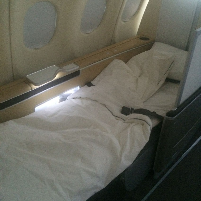 My first class seat in full lie-flat position on Lufthansa's A330