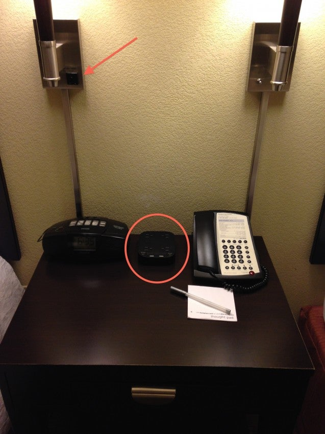 The downtown Hampton Inn in Gainesville gave some nice charging options right on the nightstand!