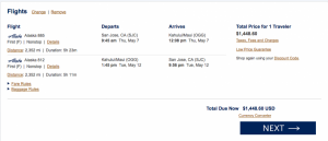 That Alaska ticket would cost you over $1,400.