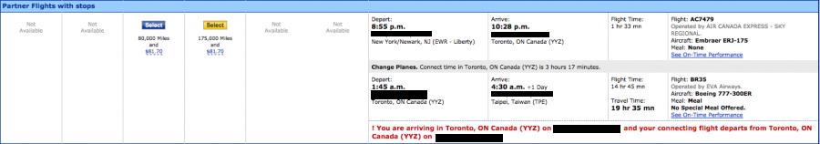 I found a decent itinerary from Newark to Taipei via Toronto.