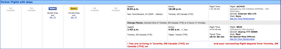 I found a decent itinerary from Newark to Taipei via Toronto.