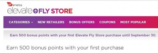 Shop via the Elevate Fly shopping portal and get 500 bonus points