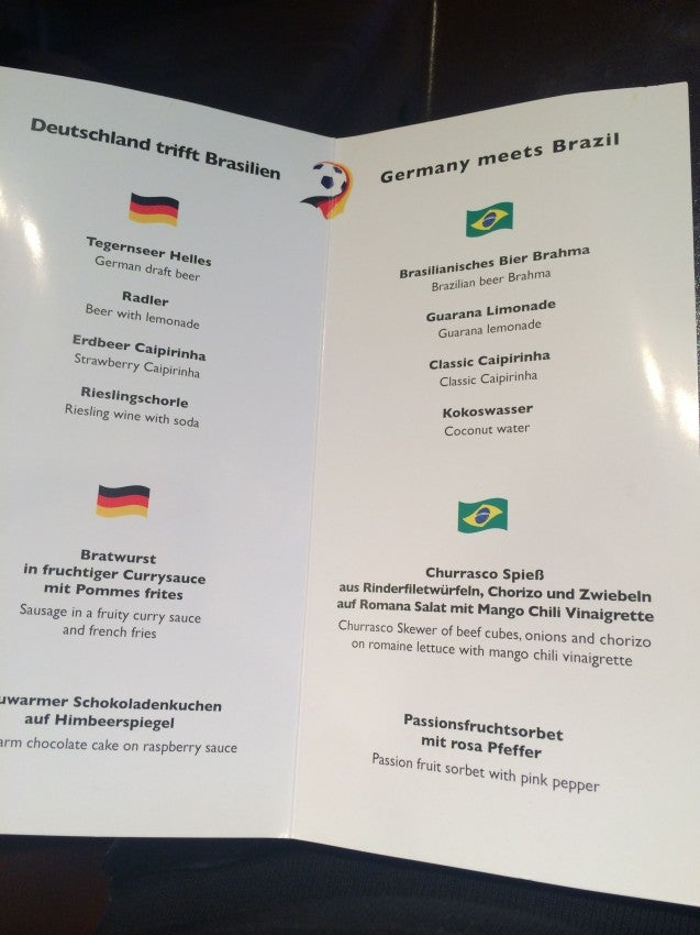Germany meets Brazil menu in the Lufthansa lounge