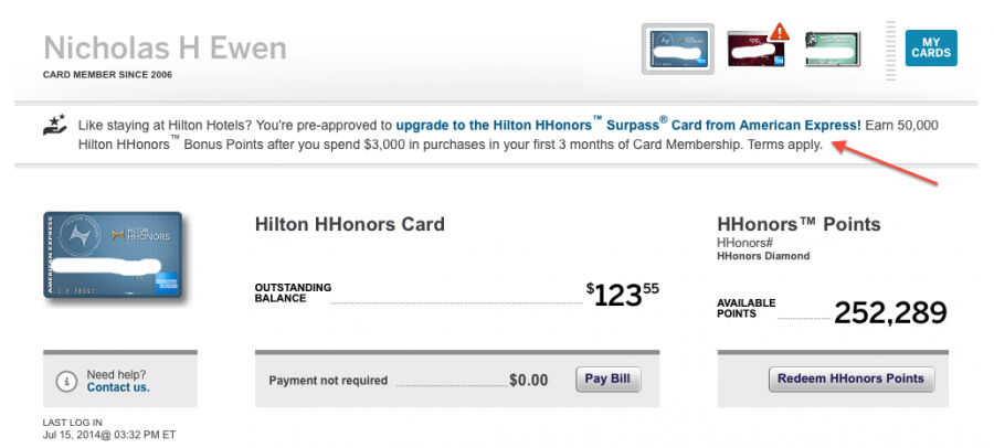 Even though I took advantage of a similar offer just a couple of years ago, I am apparently still pre-approved to upgrade my regular Hilton American Express to the Surpass!