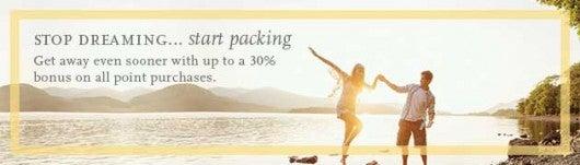 Earn a 30% Bonus on Purchased Hyatt Gold Passport Points.