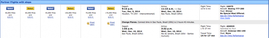 Availability from Houston to Rio on United in December.