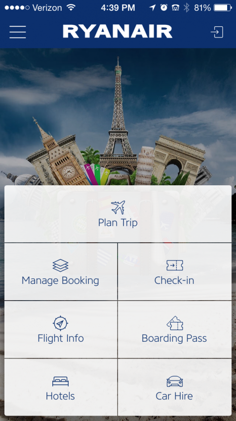 Ryanair's new electronic boarding pass is accessible right from the opening screen of the new app