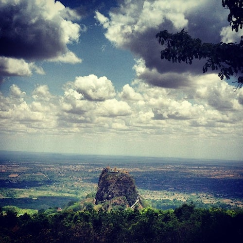 A view of the dramatically perched Mt. Popa temple from the Mt. Popa Lodge.